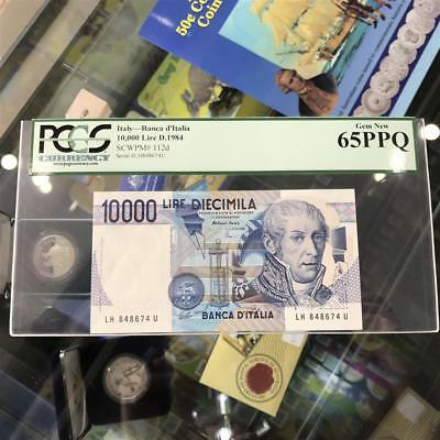 Bank of Italy 10,000 Lire 1984 Banknote PCGS Gem New 65 PPQ P.112d A. Volta