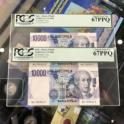 Bank of Italy 10,000 Lire 1984 Consecutive Pair Banknotes PCGS 67 PPQ P.112c