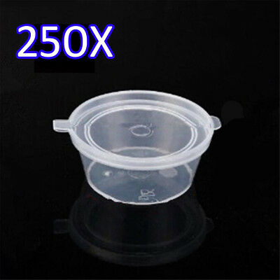 250X 2oz Clear Plastic Containers Tubs with Attached Lids Food Safe Takeaway