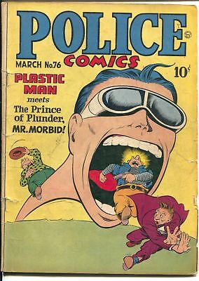 Police #76 1948-Quality-Plastic man-Spirit-Candy-Manhunter-mouth cover-VG-