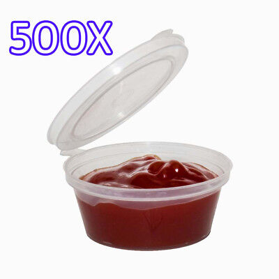 500X 2oz Clear Plastic Containers Tubs with Attached Lids Food Safe Takeaway
