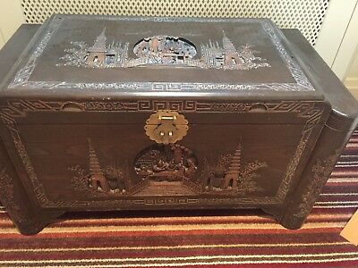 Oriental Carved Camphor Wood Blanket Box/Chest, lovely vintage piece