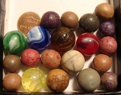 20 Vintage Antique Marbles Clay Old American Slag Glass Red Brown Yellow Blue
