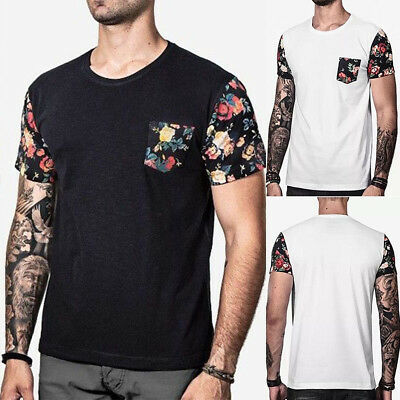 Fashion Men's Slim O Neck Short Sleeve Muscle Tee T-shirt Casual Fit Tops Blouse