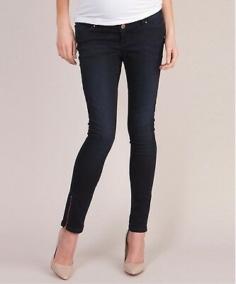 Seraphine Over Bump Indigo Skinny Maternity Jeans Rose Gold Detail Size 8