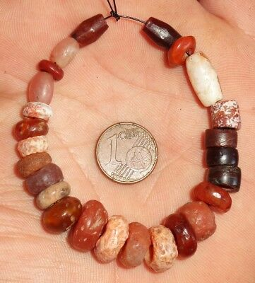 12mm Perles Ancien Afrique Sahara Ancient Neolithic Agate Carnelian Beads Africa