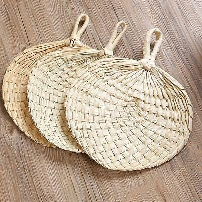 2PC Chinese Manual Straw Hand Fans Handmade Palm Leaf Punka Cool Mosquito Fan AU