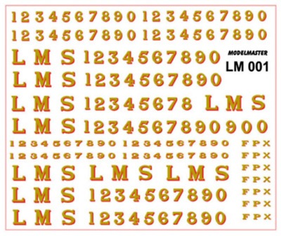 Modelmaster LM001 LMS Loco Serif Lettering & Numbers Gold Shaded Red 1928-1947