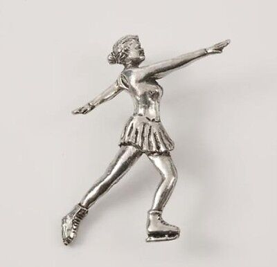 Figure Ice Skating English Pewter Tie Pin Badge NEW in pouch 14884