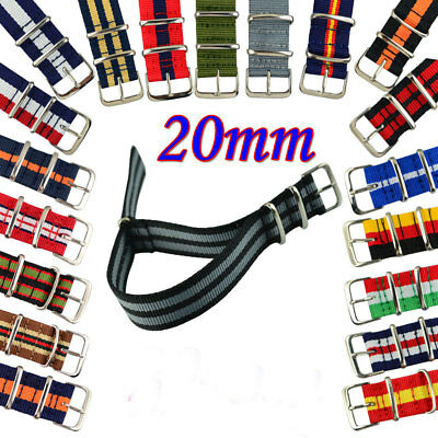 20mm  Multicolor Nylon Wristwatch straps Unisex Fabric watch band