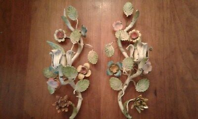 Pair Vintage Tole Metal Candle Holders Wall Sconce Flowers Chippy Italian
