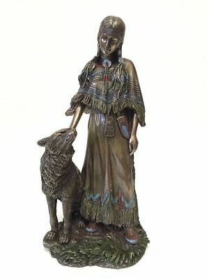 Native American Indian Woman Petting Wolf Statue Figure Sculpture - HOME DECOR