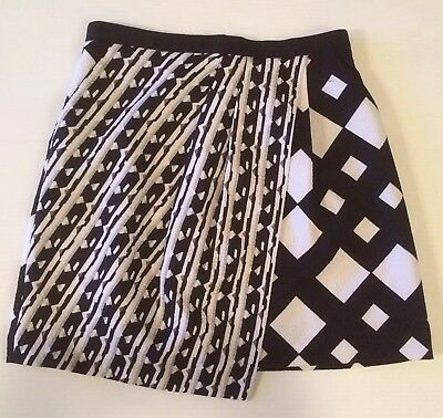 4d2ccaaf9 Peter Pilotto For Target Black White Abstract Print Pleated A-Line Skirt  Size 6