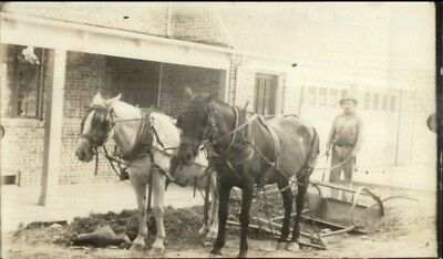 Agriculture Farmer Posing w/ Horse Drawn Plow & Team Real Photo Postcard
