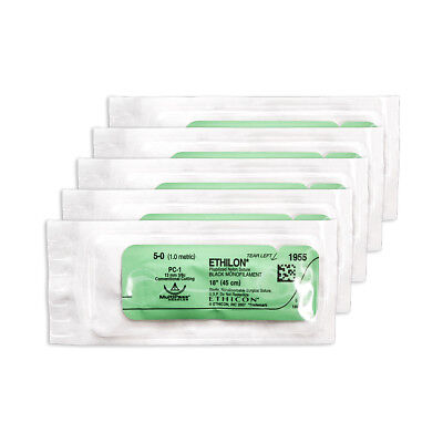 Practice Teaching Suture Kit, Nylon 5/0  Suture Thread with Needle Pack of 5