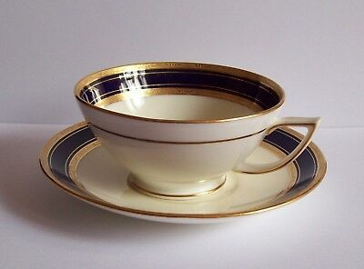 Vtg Tiffany & Co. by Mintons Blue - Gold Cup, Saucer - Minton Gilt H3241S Old #B