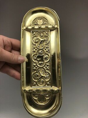 """Antique Solid Brass Pen Tray English Royal Lions 9.5"""""""