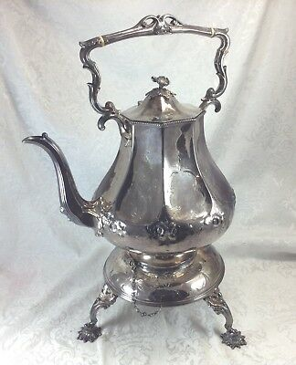Antique Silverplate Sheffield Kettle Hot Water Urn Stand Samovar Figural Flowers