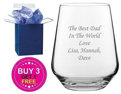Personalised Engraved Whiskey Tumbler Glass Fathers Day Gift  Best Dad, No1 Dad