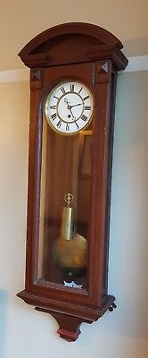 Stained Mahogany Single Weight Vienna wall clock For Restoration