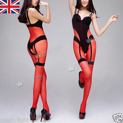 Uk Plus Size 6-20 Crotchless Sheer Nylon Tight Bodystocking Lingerie Silky Nto6