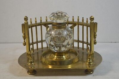 Antique Brass and Cut Crystal Writing Stand and Inkwell