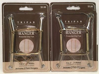 3 Ct. Tripar Brass Plate Hanger 5\  - 7\  ... & 6 PACK Flatirons Disc Adhesive Plate Hanger Wall Display Invisible ...