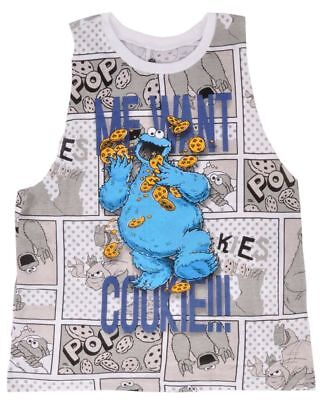 Sesame Street Cookie Monster Tank Top Razor Cut Sublimated Juniors
