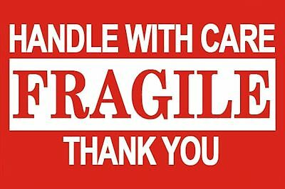 1000 - 3x5 FRAGILE Handle With Care Labels Large Self Adhesive Shipping Sticker