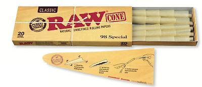 RAW Classic Natural Unrefined Pre Rolled Cones - 20 Cones Per Pack - 98 S... New