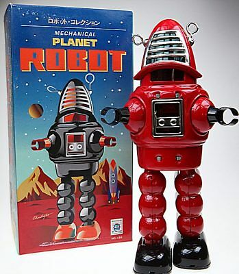 Red Robbie Robot Tin Toy Windup Robby Sparks Helmet Planet Robot