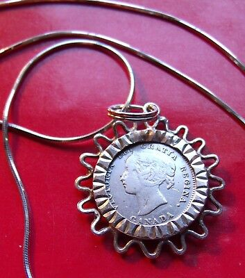 """1899 Canada 5c  Victorian Silver Coin Bezel Pendant on 20"""" 925 Italy Snake Chain"""
