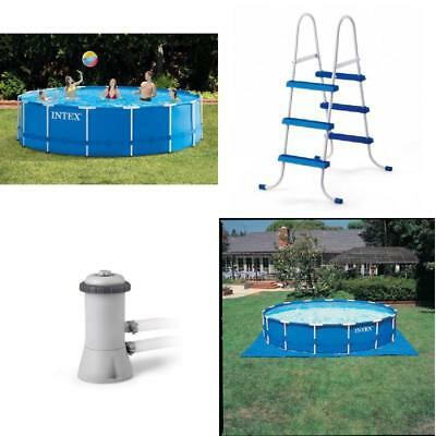 SWIMMING POOL ABOVE Ground Metal Frame Bracket PVC With Filter Pump ...