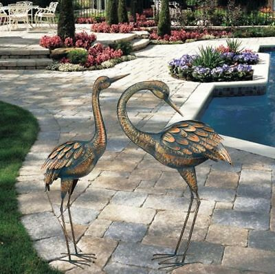 Copper Patina Crane Garden Stake Metal Yard Art Lawn Bird Sculpture By Regal