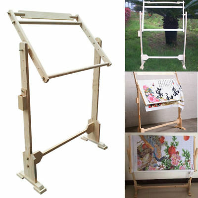 360° Rotating Wood Cross Stitch Embroidery Tapestry Frame Floor Stand Hand Craft