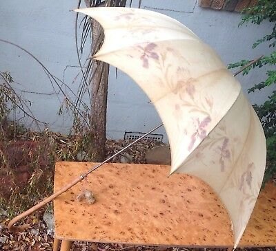 Antique UMBRELLA  parasol 1900s Era VICTORIAN wooden handle  TREASURE