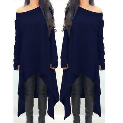 2018 Women's Irregular Long Sleeve Off-Shoulder Tops Casual Loose Shirt Dresses