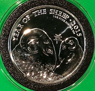 2015 Year Of The Sheep Zodiac UK 2£ Coin 1 Troy Oz .999 Fine Silver Round Medal