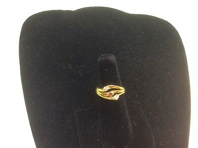 Vintage Costume Clear & Ruby Rhinestone Slotted Ring Size 6