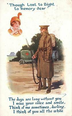 1917 George Piper MISSING YOUR VOICE & SMILE BOURNE PARK ARMY CAMP KENT POSTCARD