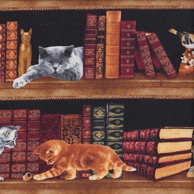 Old Antique Books with Cats on Bookshelf Library Quilting Fabric FQ or Metre *Ne