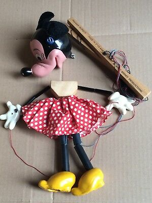 Walt Disney * Original Minnie Maus Marionette Made in England Pelham Puppets **