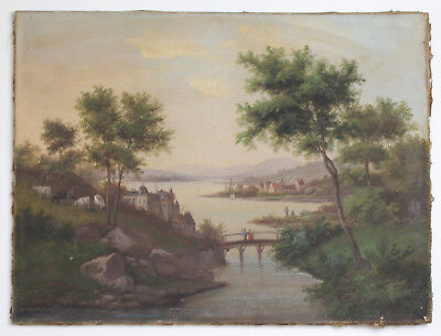 Antique 19th Cen. Signed Oil Swiss Landscape Painting, River House Mountains