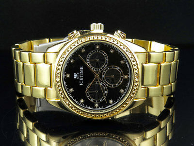 Unisex Genuine Diamond Yellow Gold Finish Black Dial Icetime Watch CA-03  .10ct