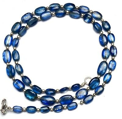 """Natural Gem Kyanite 7x5 to 10x7MM Smooth Nuggets 124Cts. Finished Necklace 20.5"""""""