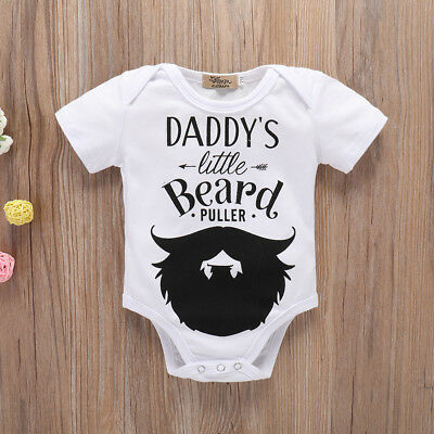 """Daddy's Little Beard"" Baby Girls Boys Romper Bodysuit Jumpsuit Outfits  Clothes"