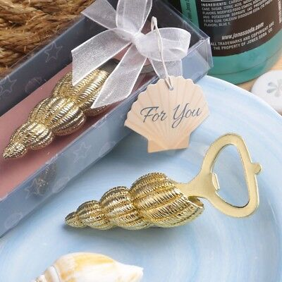 3d2779a402f7 20 Gold Conch Beach Sea Shell Bottle Openers Wedding Bridal Shower Party  Favors