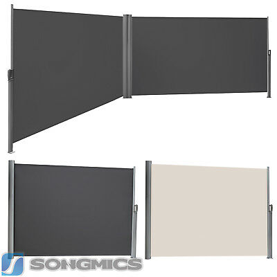 SONGMICS Garden Side Awning Windbreak Sunshade Outdoor Retractable Blind Screen