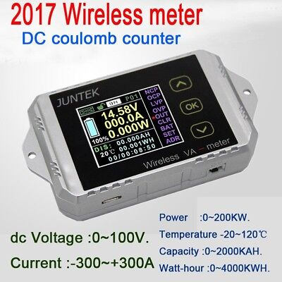 300A wireless DC volt AMP power meter Battery Monitor capacity Coulomb counter