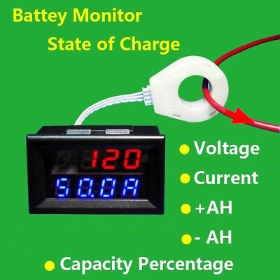 Battery Monitor 5-120V 50A Voltage Current Remaining Capacity Meter Hall Sensor